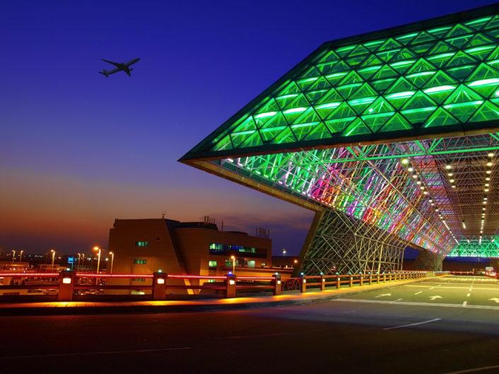 Podświetlenie LED na lotnisku